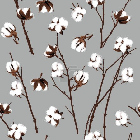 Illustration for Cotton plants grey seamless pattern - Royalty Free Image