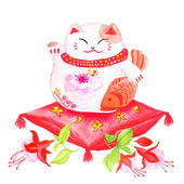 Chinese lucky cat sitting on the red pillow with fuchsia and wav