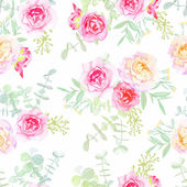 Delicate roses seamless vector pattern in shabby chic style