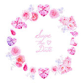 Pink diamonds peonies and roses round vector frame