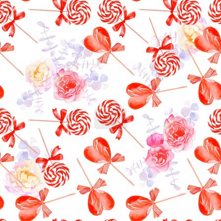 Illustration for Romantic candy with bows and flowers seamless vector prin - Royalty Free Image