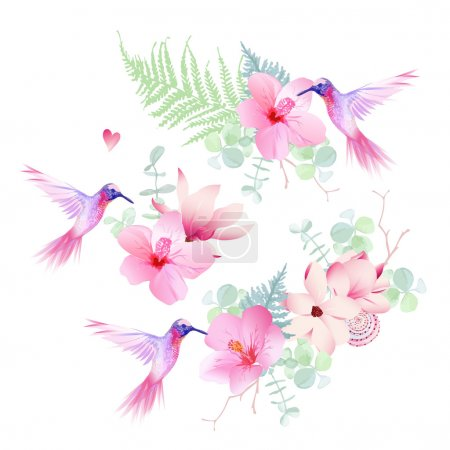 Delicate tropical flowers with flying hummingbirds vector design