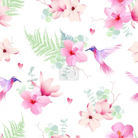 Illustration for Delicate tropical flowers with flying hummingbirds seamless vector print - Royalty Free Image