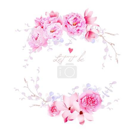 Spring magnolia and peonies vector frame. Gentle flowers wedding