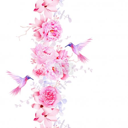 Illustration for Gentle camellia, peonies and magnolia flowers. Vector design element with pink hummingbirds. - Royalty Free Image