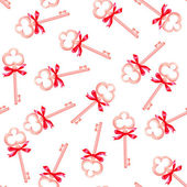 Golden keys with red bows seamless vector pattern