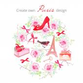 Create own Paris design vector set Rose bunches fashion shoe bows key strawberry cake Eiffel tower perfume bottlebullfinchbranches All elements are isolated and editable