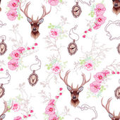 Romantic vector pattern with reindeer orchids roses medallion