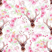 Graceful reindeer and flowers seamless vector pattern