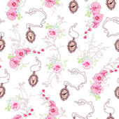 Romantic vector pattern with roses chain medallions orchids an