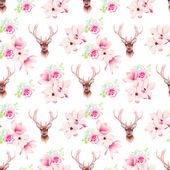 Delicate magnolia flowers and deer seamless vector print