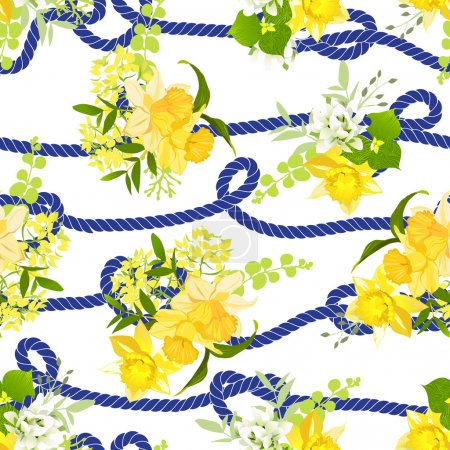 Illustration for Twisted blue marine rope and yellow spring bouquets of narcissus, wildflowers and herbs  seamless vector print - Royalty Free Image