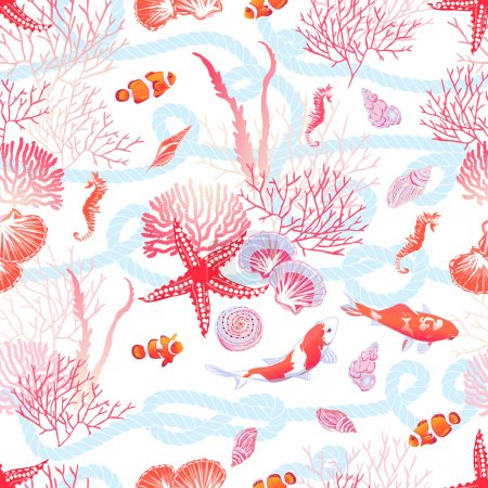 Sea with fishes, red star, shells, seahorse, algae seamless vect