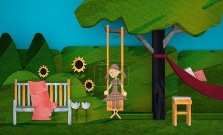 3d girl on the swing