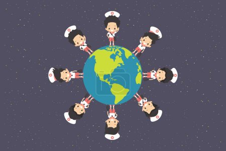 Uniform boys around the earth