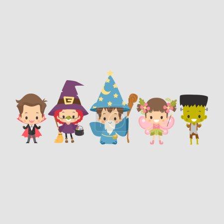 Illustration pour Costume Enfant Vampire, Sorcière, Magicien, Fée et Frankenstein - image libre de droit