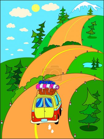 Illustration for Road trip on vacation to the mountains on a hilly road. People travelling by car. - Royalty Free Image