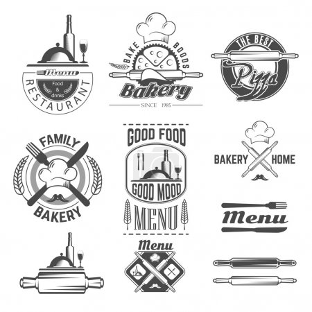 Set of vintage black and white bakery and menu card emblems