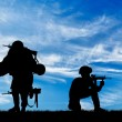 Concept of war. Silhouette of a soldier carries a ...