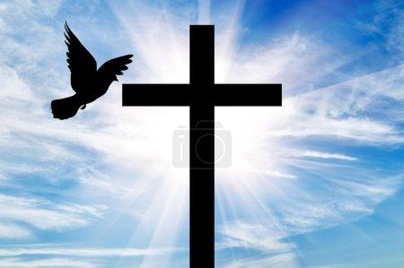Photo pour Concept de religion. Silhouette d'une croix et colombe dans les rayons de lumière sur le fond du beau ciel - image libre de droit