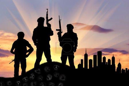 Silhouette of terrorists