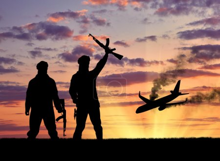 Silhouette of terrorists and blow up the plane