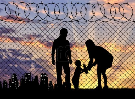 Silhouette of refugee families