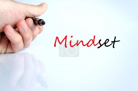 Photo for Pen in the hand isolated over white background Mindset - Royalty Free Image