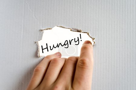 Photo for Hungry text concept isolated over white background - Royalty Free Image