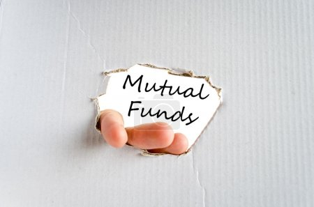 Mutual funds text concept isolated over white back...
