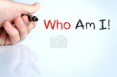 Photo for Who am i text concept isolated over white background - Royalty Free Image