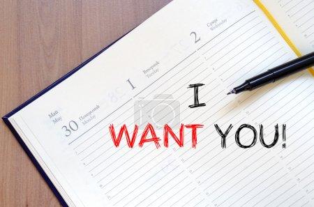 Photo pour Je veux que tu écrives un concept de texte sur un carnet. - image libre de droit