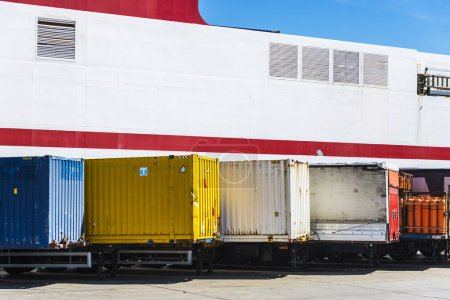Containers parked in a row
