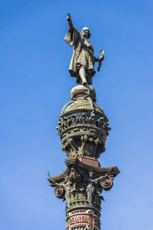 Close-up of the Christopher Columbus monument near...