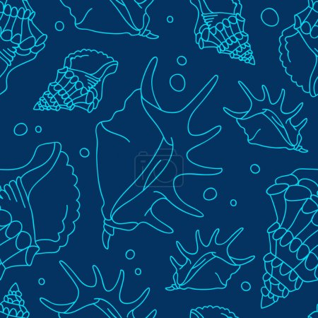 Seamless vector pattern of shells