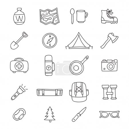 Set of 20 travel icons