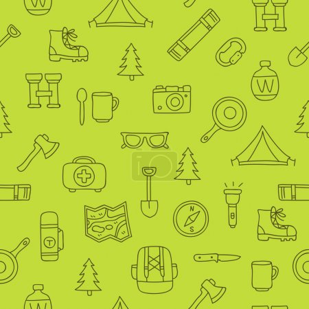 Seamless vector pattern of travel icons