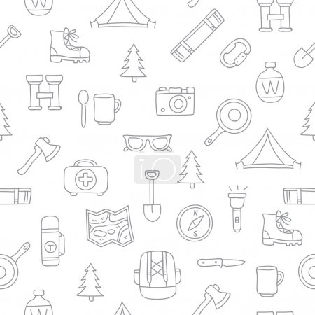 Seamless vector pattern of the tourist icons