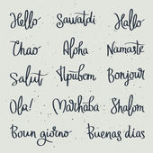 Set word Hello in different languages Fashionable calligraphy
