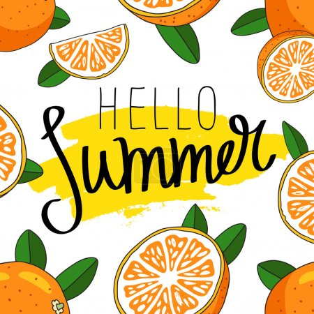 Quote Hello Summer. Fashionable calligraphy.