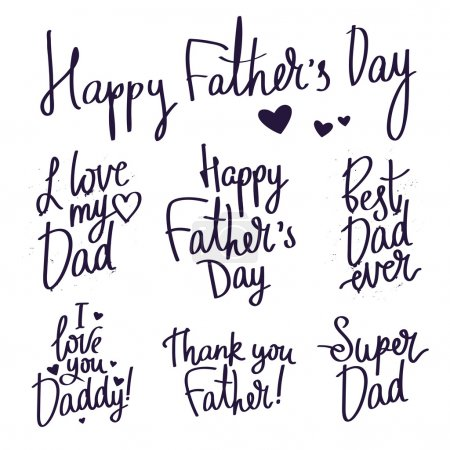 Set inscriptions for Father's Day. Fashionable calligraphy.