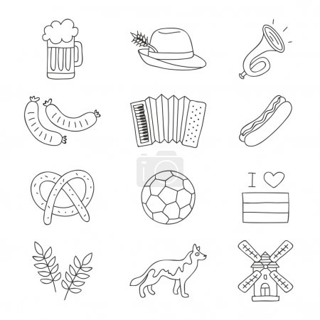Set of German icons on a white background.