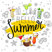 Caption Hello Summer surrounded from different cocktails and sum