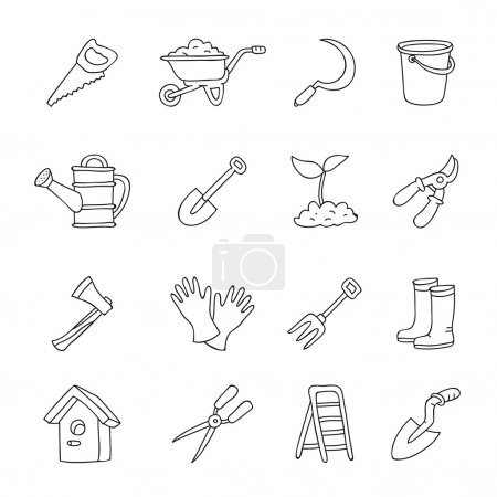 Set of icons of garden tools