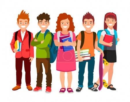 Funny group of schoolchildren with backpacks and textbooks