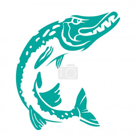 Figure pike on a white background. Vector....