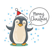Cute and funny Christmas penguin in red hat