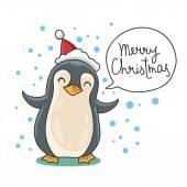 Roztomilý a vtipný vánoční tučňák v červeném klobouku