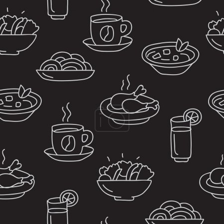 Seamless vector pattern of icon business lunch