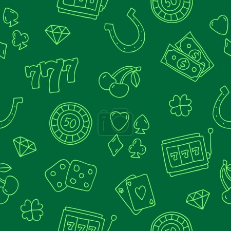 Seamless vector pattern of icon for the casino